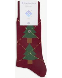 Burlington - Christmas Tree Cotton Argyle Socks - Lyst