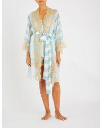 Rosamosario Coprimi D amore Lace-paneled Silk-velvet Pajama Pants - Lyst 9190d6f96