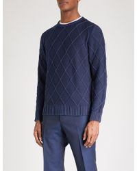 Canali - Patterned Cable-knit Cotton Jumper - Lyst