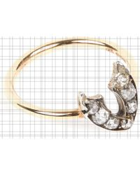 Annina Vogel - 9 Carat Gold And Diamond Wishbone Ring - Lyst