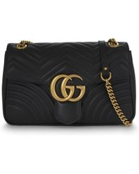 f874e9895 Gucci Gg Marmont Medium Quilted Leather Shoulder Bag in Black - Lyst
