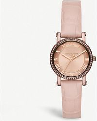 bd5a1700e9cd Michael Kors - Mk2723 Norie Rose Gold-toned Stainless Steel And Leather  Watch - Lyst