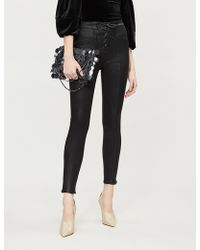 GOOD AMERICAN - Good Waist Waxed Lace-up High-rise Skinny Jeans - Lyst
