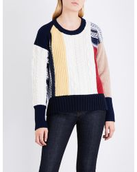 Burberry - Contrast-panel Chunky-knit Wool And Cashmere-blend Jumper - Lyst