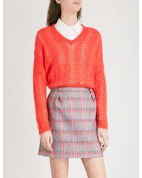 Claudie Pierlot - V-neck Open-knit Jumper - Lyst