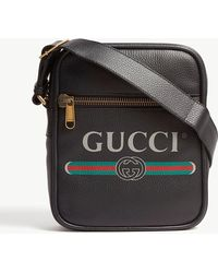 Gucci - Leather Messenger Bag - Lyst