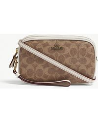 COACH - Ladies Brown Coated Modern Signature Canvas And Leather Cross-body Bag - Lyst