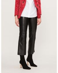 Sandro - High-rise Leather Trousers - Lyst
