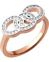 Links of London - Signature 18ct Rose Gold And Sapphire Stud Ring - Lyst