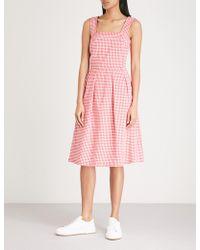 Claudie Pierlot - Pleated Gingham Cotton-blend Dress - Lyst