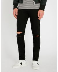 PAIGE - Croft Slim-fit Distressed Skinny Jeans - Lyst
