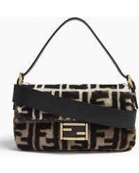 Fendi - Logo Shearling Baguette Shoulder Bag - Lyst
