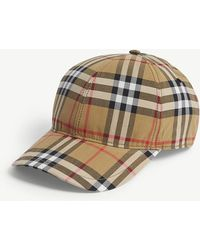 Burberry - Checked Brushed-wool Baseball Cap - Lyst