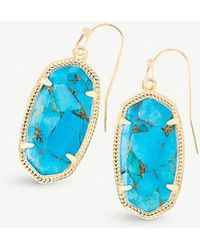 Kendra Scott - Dani 14ct Gold-plated Bronze Veined Turquoise Drop Earrings - Lyst