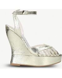 Terry De Havilland - Margaux Metallic Snake-effect Leather Wedge Sandals - Lyst