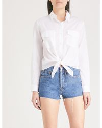 The Kooples - Tie-up Cotton Shirt - Lyst