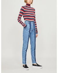 Ksenia Schnaider - Front-stripe Faded High-rise Slim-fit Jeans - Lyst