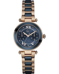 Gc - Y06009l7 Ladychic Rose Gold-plated And Stainless Steel Watch - Lyst