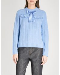 Needle & Thread - Bow-detail Cable-knit Wool Jumper - Lyst