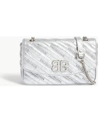 Balenciaga - Ladies Silver Striped Bb Chain Metallic Leather Shoulder Bag - Lyst