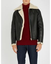 Paul Smith - Zipped-cuffs Leather And Shearling Bomber - Lyst