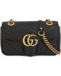 Gucci - Black Heart Embroidered Marmont Gg Mini Leather Cross Body Bag - Lyst