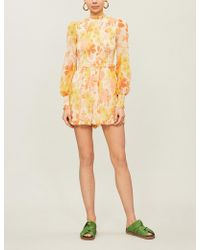 Zimmermann - Primrose Crinkle Cotton-and-silk Blend Crepe Playsuit - Lyst