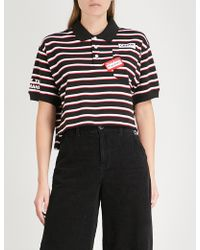 Mini Cream - Cropped Striped Cotton Polo Shirt - Lyst