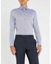 Emporio Armani - Herringbone-patterned Cotton Shirt - Lyst