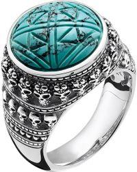 Thomas Sabo - Rebel At Heart Mini Skulls Sterling Silver Signet Ring - Lyst