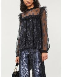 Needle & Thread - Lace Illusion Embroidered Tulle Top - Lyst
