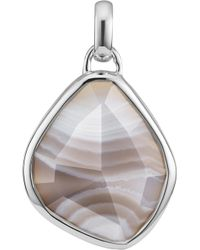 Monica Vinader - Siren Medium Sterling Silver And Grey Agate Pendant - Lyst