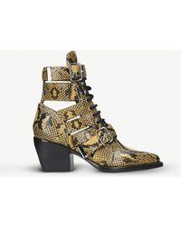 Chloé - Rylee Lace-up Python-effect Leather Boots - Lyst