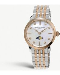 Frederique Constant - Fc-206mpwd1s2b Slimline Moonphase Mother-of-pearl And Diamond Watch - Lyst