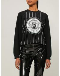 Balmain - Womens Black And White Stripe Logo-print Cotton-jersey Sweatshirt - Lyst