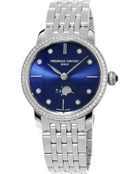 Frederique Constant - Fc-206nd1sd26b Slimline Moonphase Stainless Steel Watch - Lyst