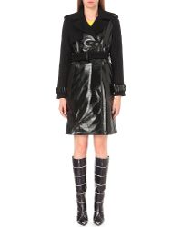 Wanda Nylon - Patent-panelled Wool And Cashmere-blend Vinyl Trench Coat - Lyst