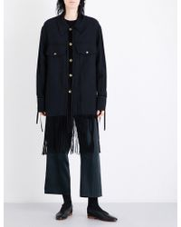 Song For The Mute - Fringed-hem Drill Jacket - Lyst