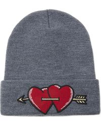 Maje - Embroidered Love Patch Beanie - Lyst