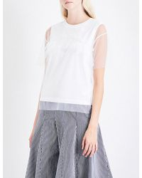 Izzue - Ruffled Tulle T-shirt - Lyst