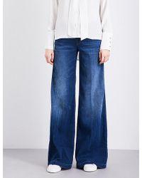J brand 'lynette' Low Rise Wide Leg Jeans in Blue | Lyst
