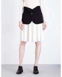 Limi Feu - Pleated Wool And Chiffon Skirt - Lyst