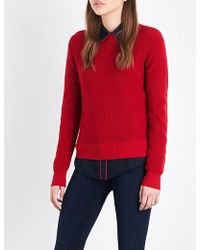 FRAME - Waffle-knit Cotton Ancd Cashmere-blend Jumper - Lyst