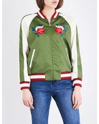 Mo&co. - Embroidered Satin Bomber Jacket - Lyst