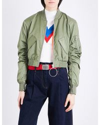 Mo&co. - Cropped Shell Bomber Jacket - Lyst