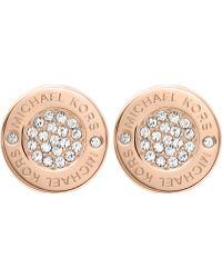 Michael Kors - Brilliance Rose Gold-toned Pavé Stud Earrings - Lyst