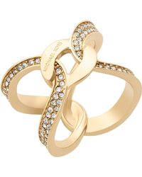 Michael Kors - Brilliance Gold-plated Pavé Ring - Lyst