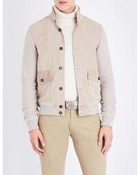 Ralph Lauren Purple Label - Contrast Suede And Wool Jacket - Lyst
