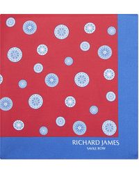 Richard James - Compass Print Silk Pocket Square - Lyst