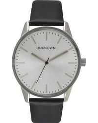 Unknown - Un14tc06 The Classic Stainless Steel And Leather Watch - Lyst